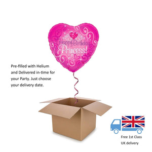 "18"" Oaktree Holographic Pink Princess Balloon in a Box with Helium Surprise Gift"