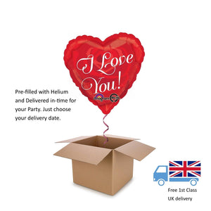 "18"" Red Rose Heart Love You Valentines Day Balloon in a Box with Helium Surprise"