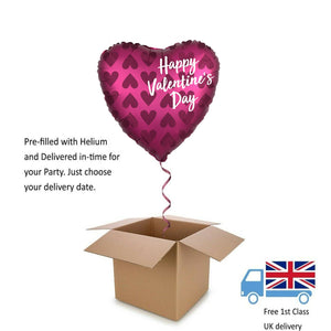 "18"" Satin Luxe Pomegranate Valentines Day Balloon in a Box with Helium Surprise"