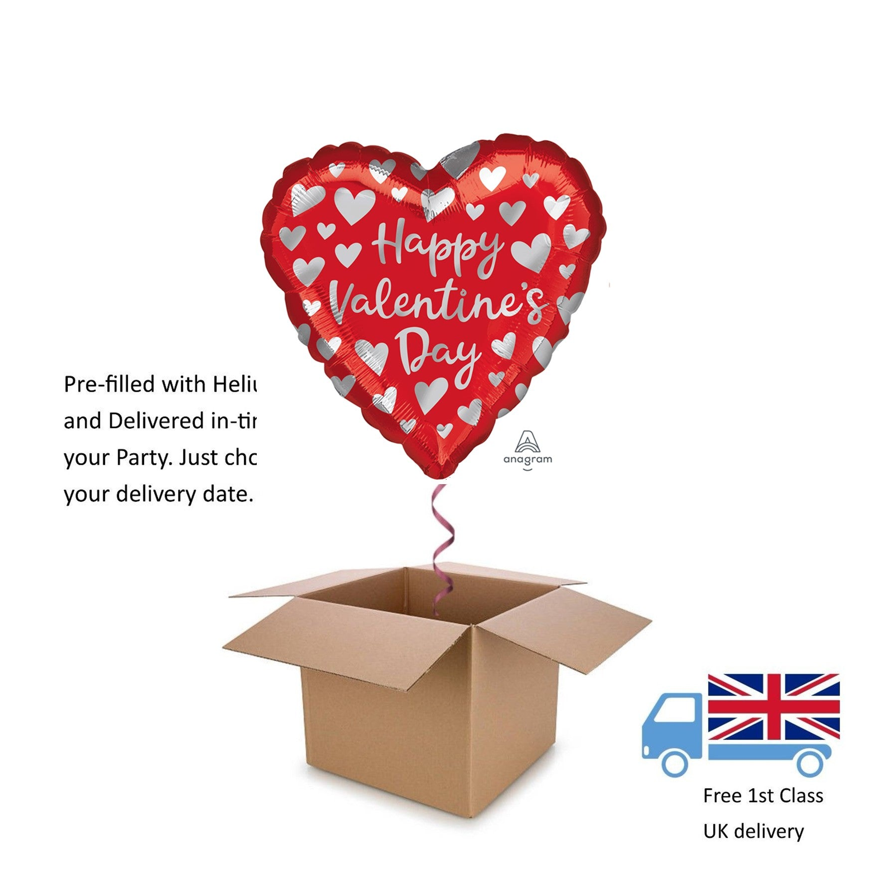 Red & Silver Hearts Valentines Day Love Helium Heart Balloon in a box surprise