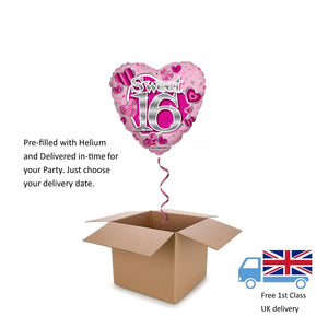 "18"" Kaleidoscope Pink Sweet 16 Heart Balloon in a Box with Helium Surprise Gift"