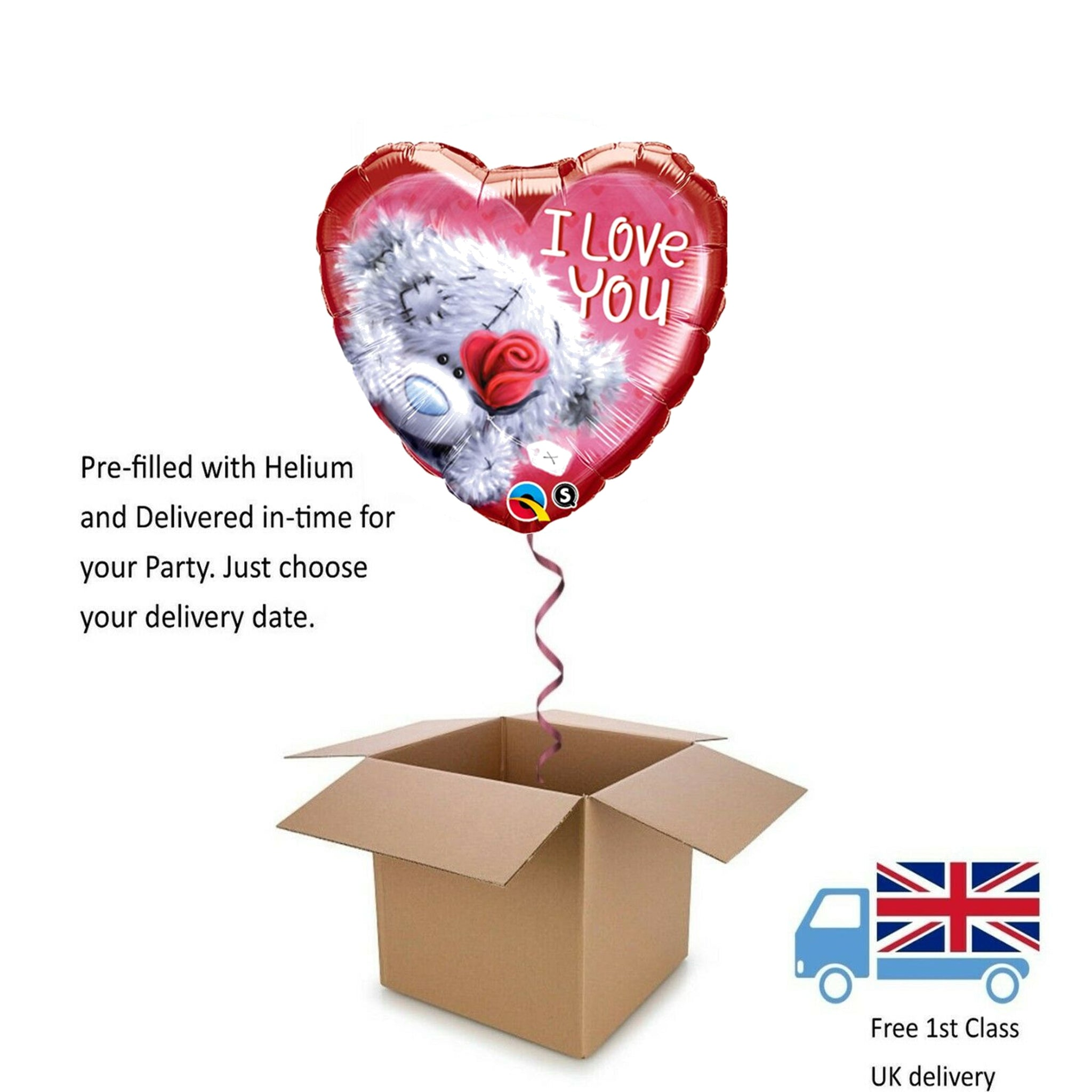 "18"" Tatty Teddy I Lover You Valentines Day Balloon in a Box with Helium Surprise"