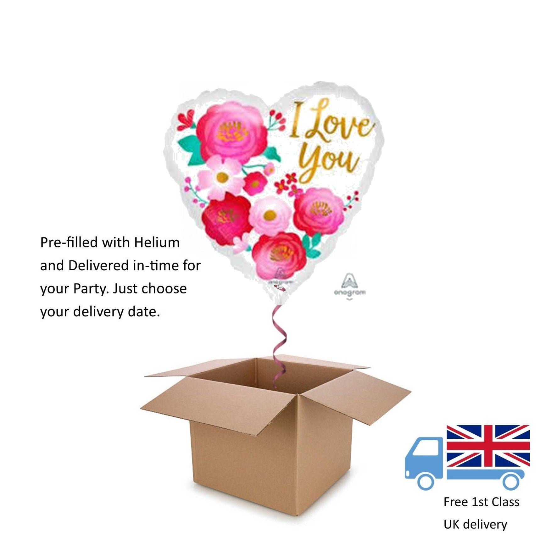 "18"" White with Roses Valentines Day Love Helium Heart Balloon in a box surprise"