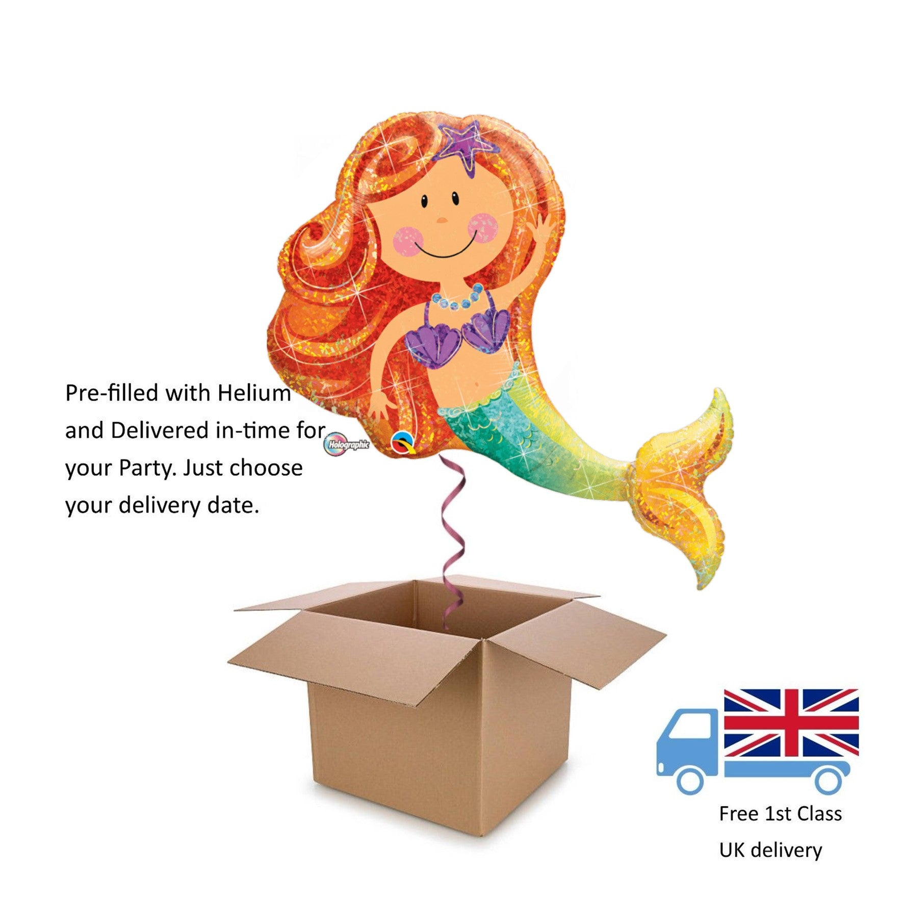 "38"" Large Magical Holographic Mermaid Helium balloon in a box Surprise Birthday"