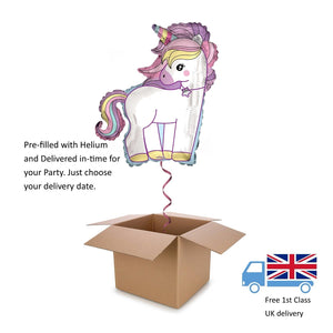 "36"" Large APAC Pink Magical Unicorn Helium balloon in a box Surprise Birthday"