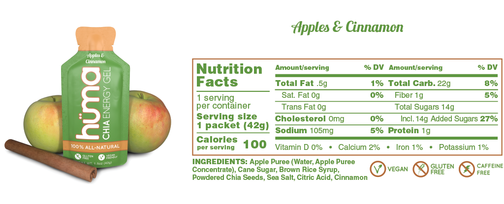 Huma Gel Apples & Cinnamon Nutrition Facts