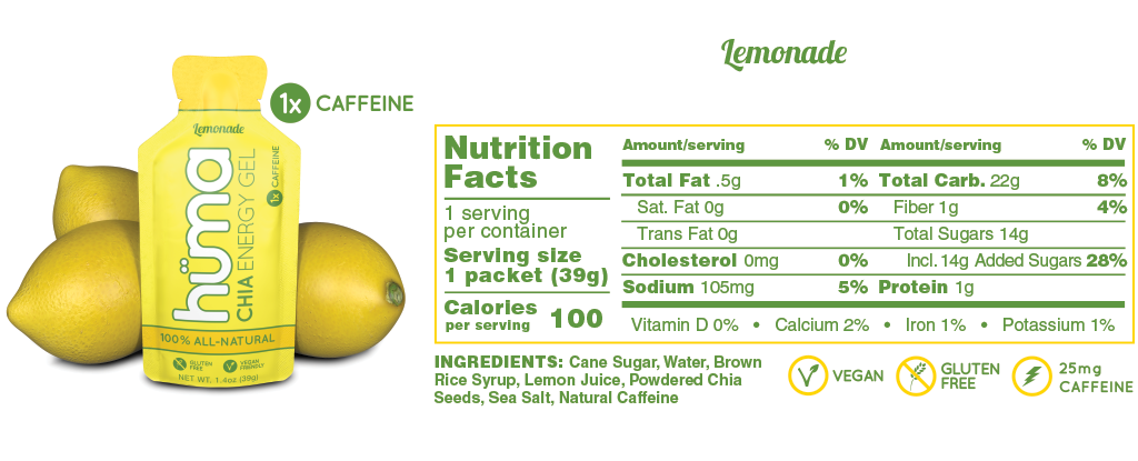 Huma Gel Lemonade Nutrition Facts