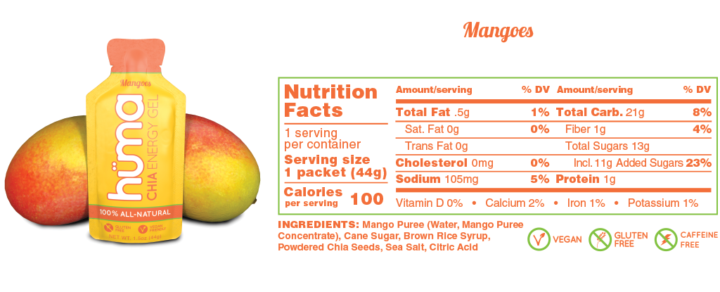 Huma Gel Mangoes Nutrition Facts