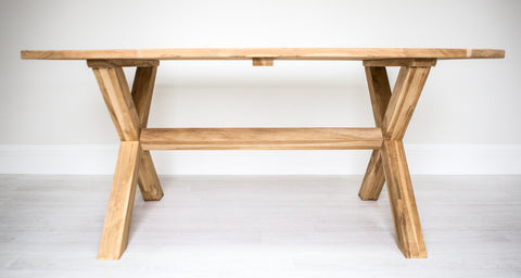 X Leg Rectangle Solid Teak Table (1400mm)