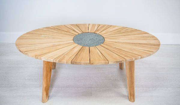 Sunburst Teak Coffee Table (with slate insert)