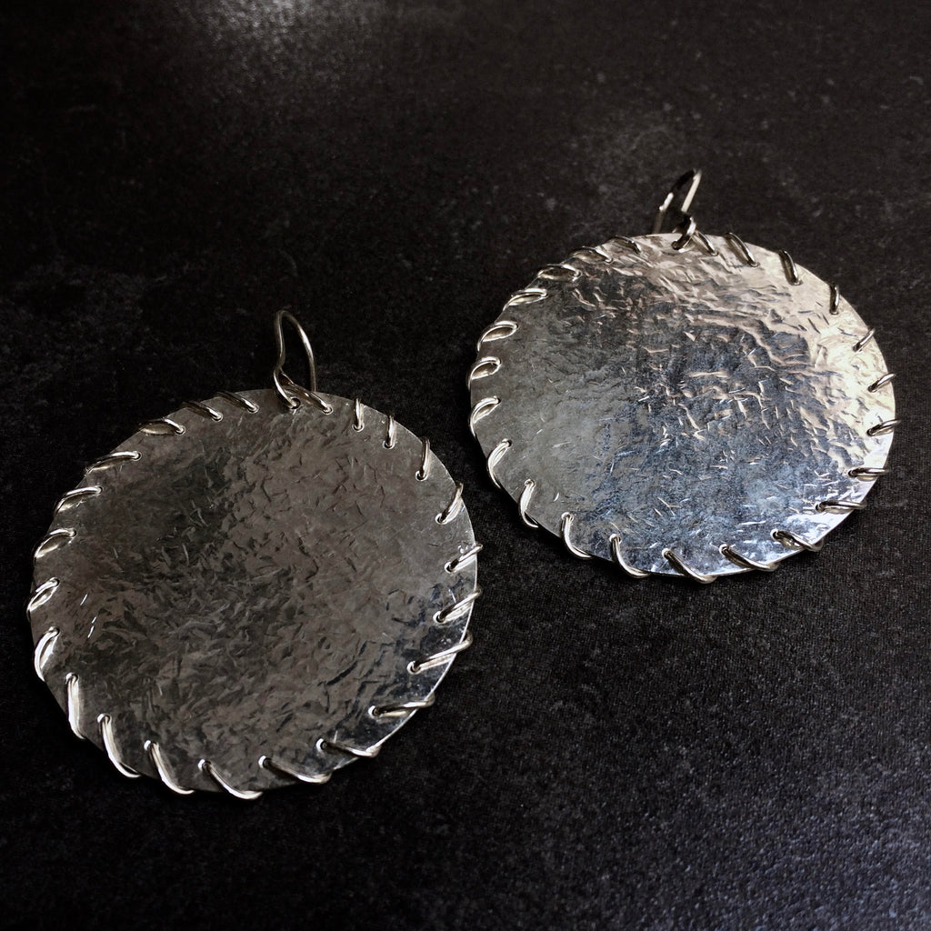 JAFFA0101 Disk Earrings (small)  by herosisters - Luxury handmade silver jewelry and accessories
