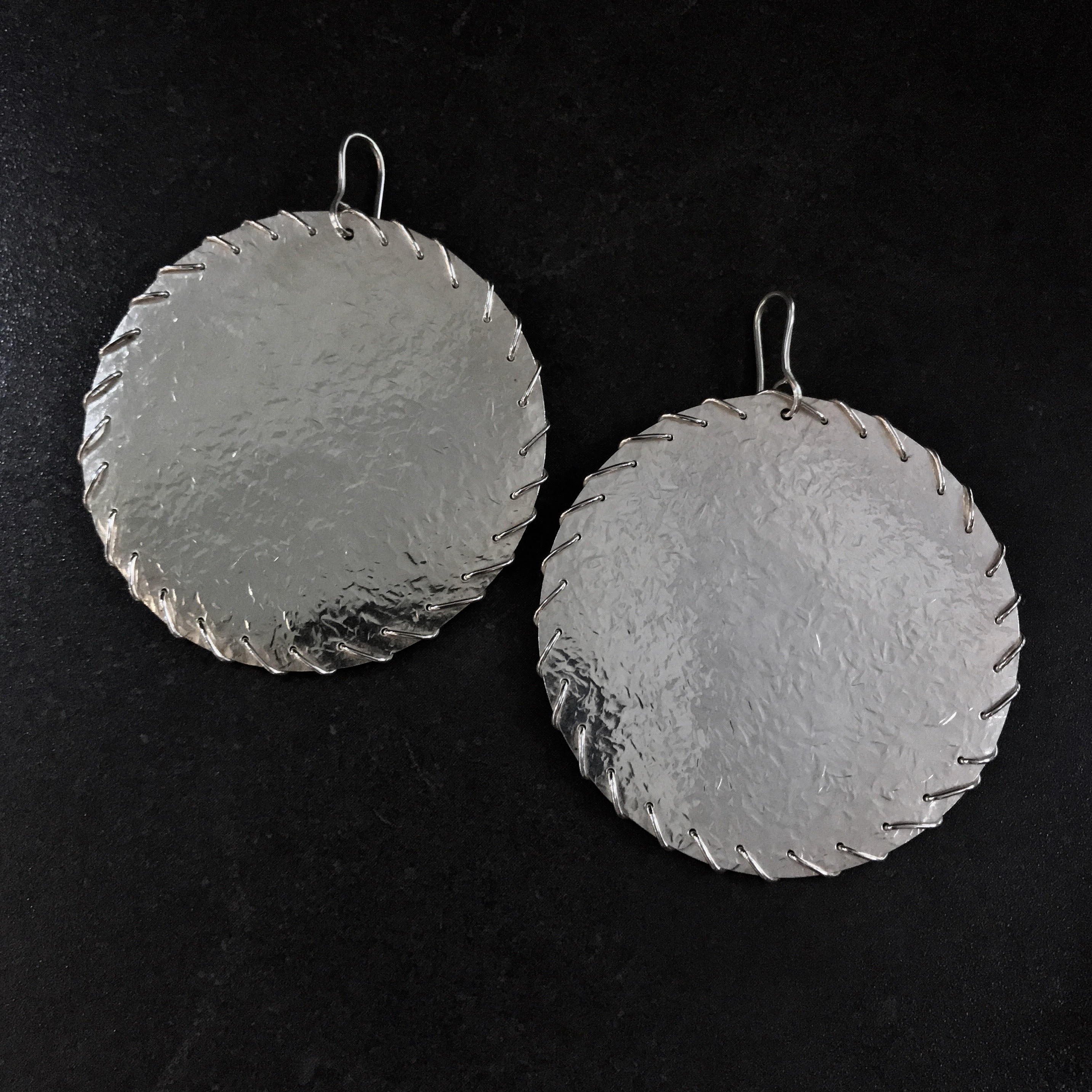 JAFFA0102 Disk Earrings (large)  by herosisters - Luxury handmade silver jewelry and accessories