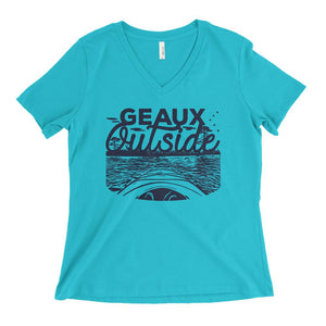 Cajun T-Shirt Club Geaux Outside Ladies V-Neck in Turquoise