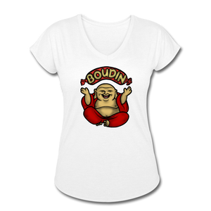 Boudin Buddha | Women's Tri-Blend V-Neck T-Shirt - white