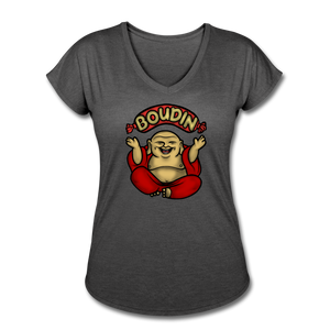 Boudin Buddha | Women's Tri-Blend V-Neck T-Shirt - deep heather