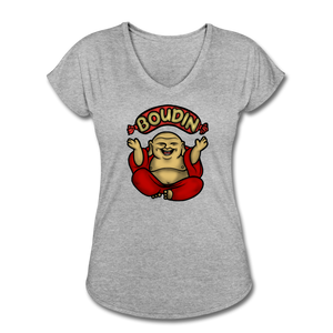 Boudin Buddha | Women's Tri-Blend V-Neck T-Shirt - heather gray