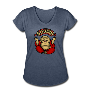 Boudin Buddha | Women's Tri-Blend V-Neck T-Shirt - navy heather
