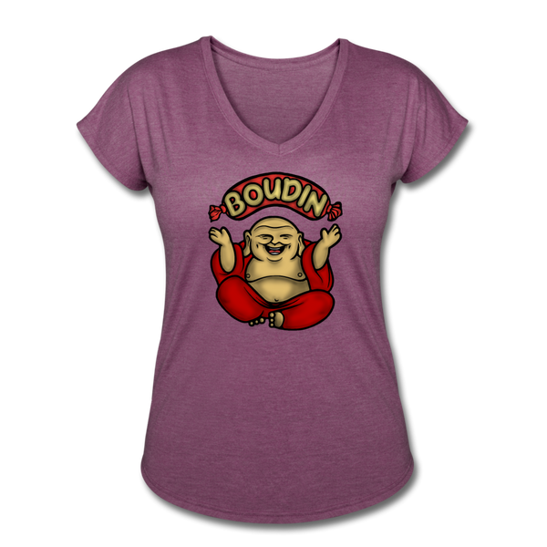 Boudin Buddha | Women's Tri-Blend V-Neck T-Shirt - heather plum
