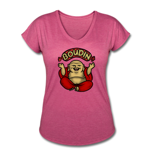 Boudin Buddha | Women's Tri-Blend V-Neck T-Shirt - heather raspberry