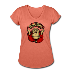 Boudin Buddha | Women's Tri-Blend V-Neck T-Shirt - heather bronze