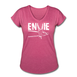 Envie | Women's Tri-Blend V-Neck T-Shirt - heather raspberry