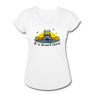 It's Trawl Good-ReBOOT Series | Women's Tri-Blend V-Neck T-Shirt - white