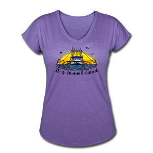 It's Trawl Good-ReBOOT Series | Women's Tri-Blend V-Neck T-Shirt - purple heather