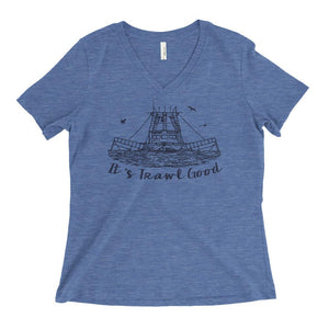 Cajun T-Shirt Club It's Trawl Good Ladies V-Neck in Blue