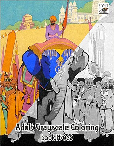 Vintage India Travel Poster Grayscale Coloring Book