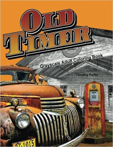 Oldtimer Grayscale Adult Coloring Book for Men