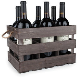 Rustic Farmhouse™ Wooden 6 Bottle Crate by Twine - ONLINE CELLAR DOOR
