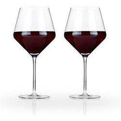 Raye Crystal Burgundy Glasses (Set of 2) by Viski - ONLINE CELLAR DOOR