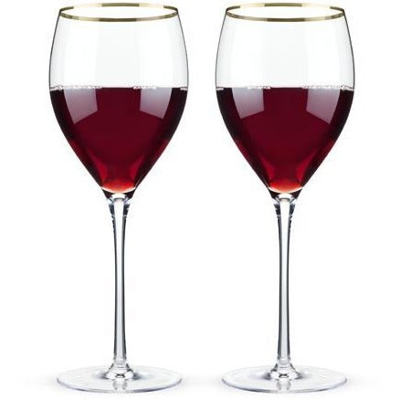 Belmont™ - Gold Rimmed Crystal Red Wine Glasses (Set of 2) - ONLINE CELLAR DOOR