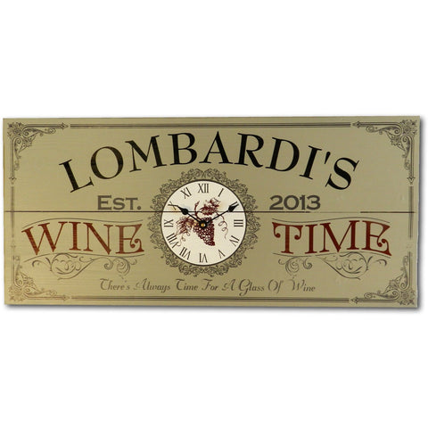 Vintage Plank Sign Clock - Wine Time Clock - ONLINE CELLAR DOOR
