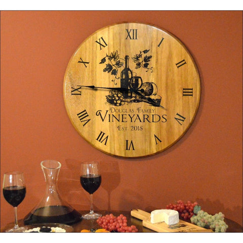 Barrel Head Clock - Wine & Cheese - ONLINE CELLAR DOOR