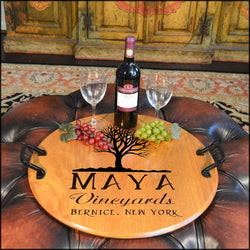 Barrel Head Serving Tray - Oak Tree - ONLINE CELLAR DOOR