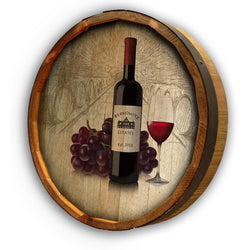 Color Quarter Barrel - Wine Bottle w_Grapes - ONLINE CELLAR DOOR