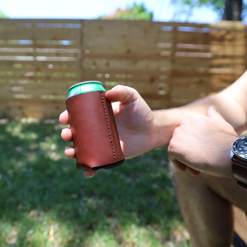 Leather Drink Koozie Holder