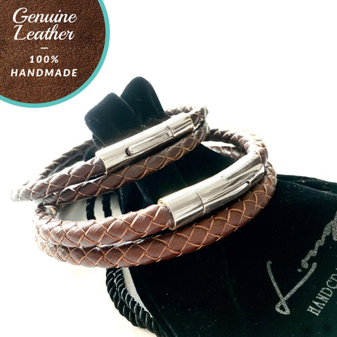 [3-5 Days Pre-Order] Braided Leather Bracelet - BROWN