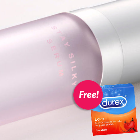 SMILE MAKERS Stay Silky Serum 30ml + FREE Durex condoms 3S