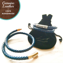 [3-5 Days Pre-Order] Braided Leather Bracelet - NAVY BLUE