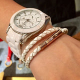 Braided Leather Bracelet - WHITE (Rose Golden Clasp)