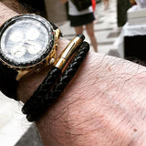 [3-5 Days Pre-Order] Braided Leather Bracelet - BLACK