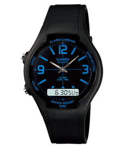 CASIO STANDARD AW-90H-2BV Analog Digital Watch | Dual Time 50m WR