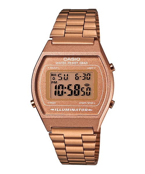 CASIO DIGITAL B640WC-5AV Men/Ladies Digital Watch | Retro Rose Gold