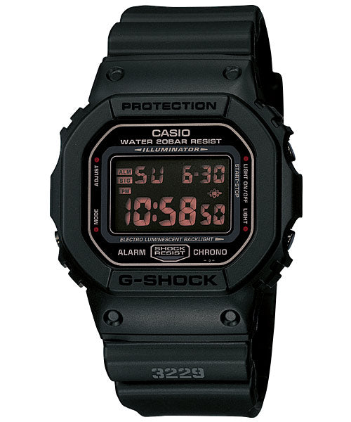 CASIO G-SHOCK DW-5600MS-1 Digital Watch | Army Force Matte Black