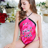 388453 Romantic Flower Embroidery Apron Teddy