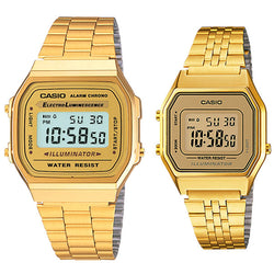 CASIO GOLD A168WG-9E + LA680WGA-9D Vintage Digital Couple Watch