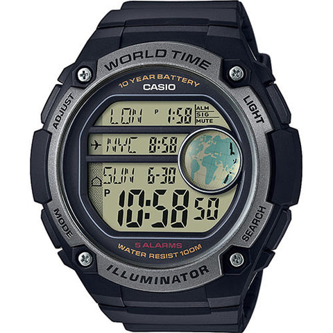 CASIO MEN AE-3000W-1AV Digital Watch | 3 Cities Time Disp. 10 Yrs Batt