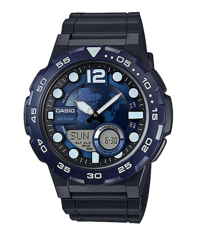 CASIO STANDARD AEQ-100W-2AV Analog Digital Watch | World Time Map